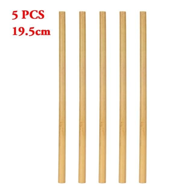 1/5PCS Nartural Organic Bamboo Drinking Straw Party Birthday Wedding Biodegradable Reusable Wood Cocktail Straws Tableware-modlily