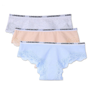 Lace Women Underwear Cotton Panties Female with Bow for Young Fashion Candy Color Summer Short Lingerie Ladies 3pcs/lot-modlily