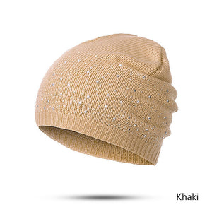 Evrfelan winter autumn beanie hats women soft knitting skullies beanies hat female fashion rhinestone cotton hat cap-modlily