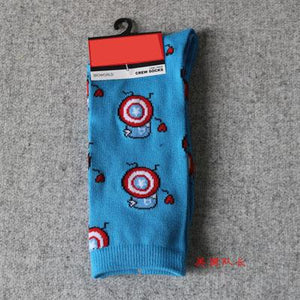 Marvel Comics Hero General Socks cartoon Iron Man Captain America Knee-High Warm Stitching pattern Antiskid Casual Sock-modlily