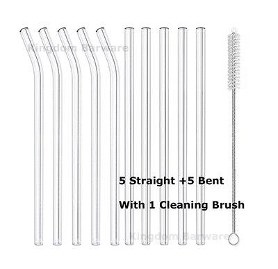 "10PCS Smoothie Glass Straws 20cm"" L x 8 mm W Lead-free Reusable Long Drinking Straws for Smoothie, Milkshakes, Bubble Tea-modlily"