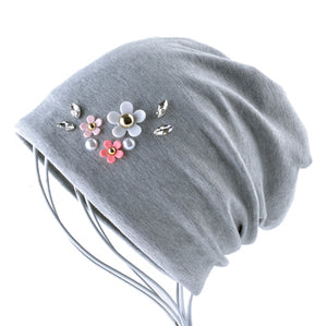 Solid Color Hat For Women Rhinestone Flower Beanies Skullies Ladies Elegant Beanie Cap Female Spring Autumn Bonnet Gorras Chapeu-modlily