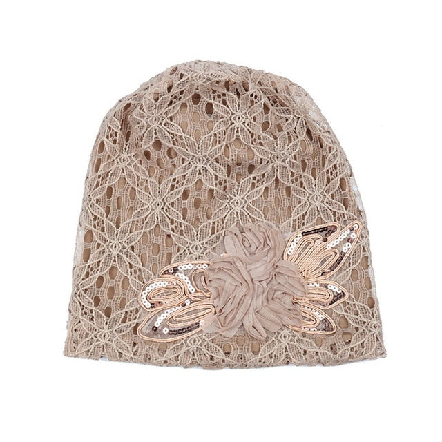 Turban Hats For Women Lace Slouchy Beanie Cap Winter Knitted Skullies Caps Fashion Flower Female Stylish Butterfly Beanies Hat-modlily