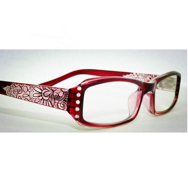 2018 Vintage Rhinestone aspheric lens Women Reading Glasses Floral Print Lady Glasses Reader with Diamond gafas de lectura A1-modlily