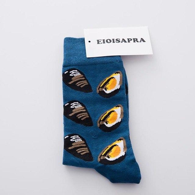 EIOISAPRA Men's Socks Seafood Pattern Meias Warm Crew Happy Socks Colorful Long Wedding Funny Socks Men Couple Christmas Gifts-modlily