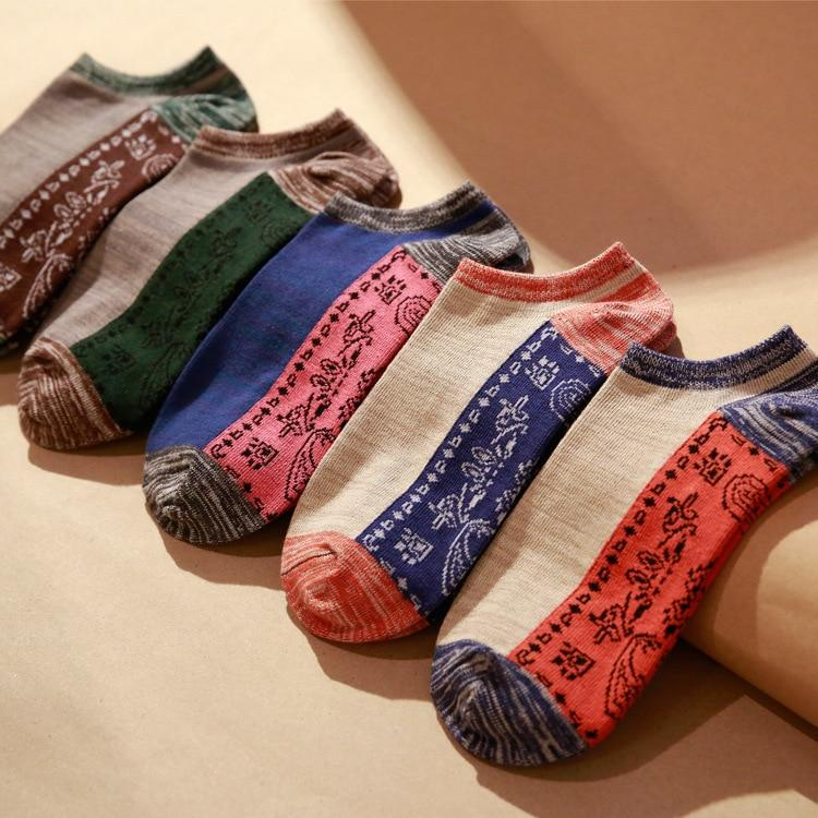 men socks 5 pairs cotton print short invisible socks new spring summer national style high quality men's socks-modlily