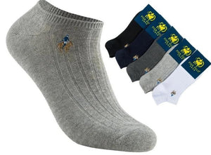 5 Pairs Brand PIER POLO Spring Invisible Men's Ankle Socks No Show Casual Cotton Socks Slippers Shallow Mouth Short Male Socks-modlily