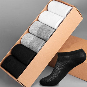 Fashion Summer Socks Men Breathable Business Casual Ankle Mens Cotton Black White Brand Dress Boat Short Socks 6 Pairs\Set-modlily