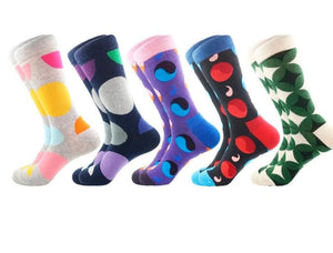 Alihouse Men Socks Multi Colorful Funny Pattern Combed Cotton Casual Crew Socks Happy Party Dress Crazy Happy Socks Men-modlily