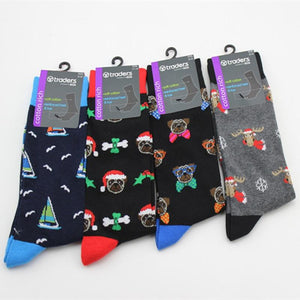 European style Cartoon pattern socks personality Christmas series happy men's sock Fashion casual calcetines hombre divertidos-modlily