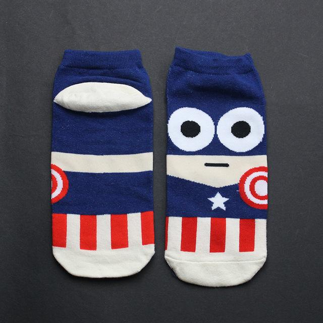 Summer Hot sale! men socks cotton Superman SpiderMan Captain America Avenge men's and Male short sock colorful breathable new-modlily