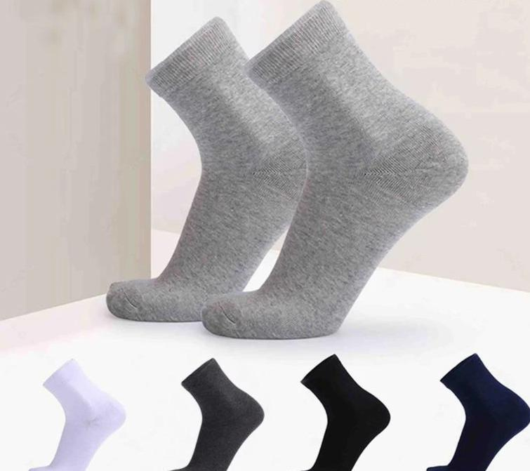 1 pair Men's socks solid color Sweat-absorbent breathable business plus size 45, 46, 47, 48, 49, 50 men's cotton socks-modlily
