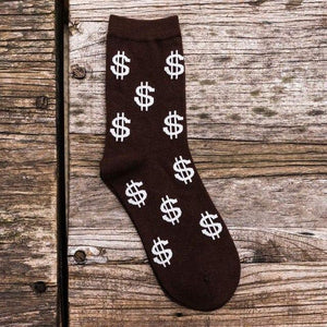Novelty Men's Long Socks Harajuku Money Dollar Pattern Socks Funny Cartoon Sock Pure Cotton Elegant Men Socks-modlily