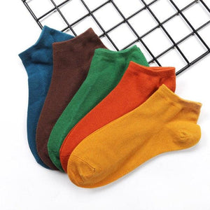 5pairs/Lot Leisure Cotton Men Socks Good Quality Short Socks Warm Stitching Color Antiskid Invisible Casual Socks Male-modlily