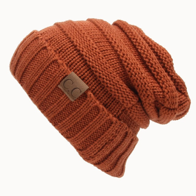 CC Ponytail Beanie Hat Women Crochet Knit Cap Winter Skullies Beanies Warm Caps Female Knitted Stylish Hats For Ladies Fashion-modlily
