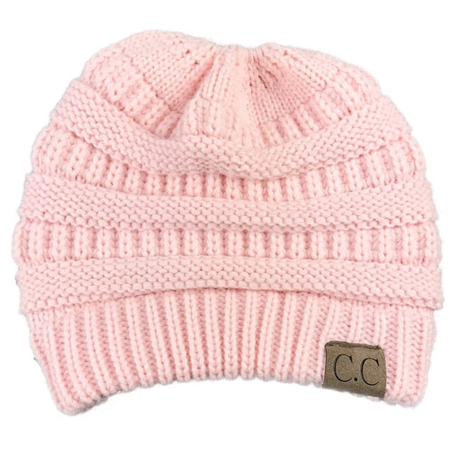 CC Ponytail Beanie Winter Hats For Women Crochet Knit Cap Skullies Beanies Warm Caps Female Knitted Stylish Hat Ladies Fashion-modlily