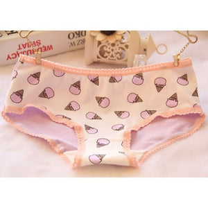 2018 Hot Sale Women Fresh Student Safe Underwear Girl's Cotton Panties Briefs Female Cute Ice Cream Pattern Lace Ladies Knickers-modlily