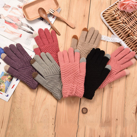 Comfortable Women Gloves Winter Woolen Knitted Gloves Touch Screen Mittens Keep Warm Female Winter Full Finger Stripe Gloves