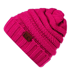 CC Beanies Hat Women's Winter Caps Knitted Hat Stretchy Skullies Beanies For Ladies Soft Crochet Hat Female Warm Thick Bonnet-modlily