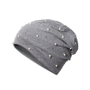 Winter Knitted Hat Female Pearl Rhinestone Beanies For Girl Soft Wool Blends Solid Bonnet 2018 New Fashion Cap Women's Skullies-modlily