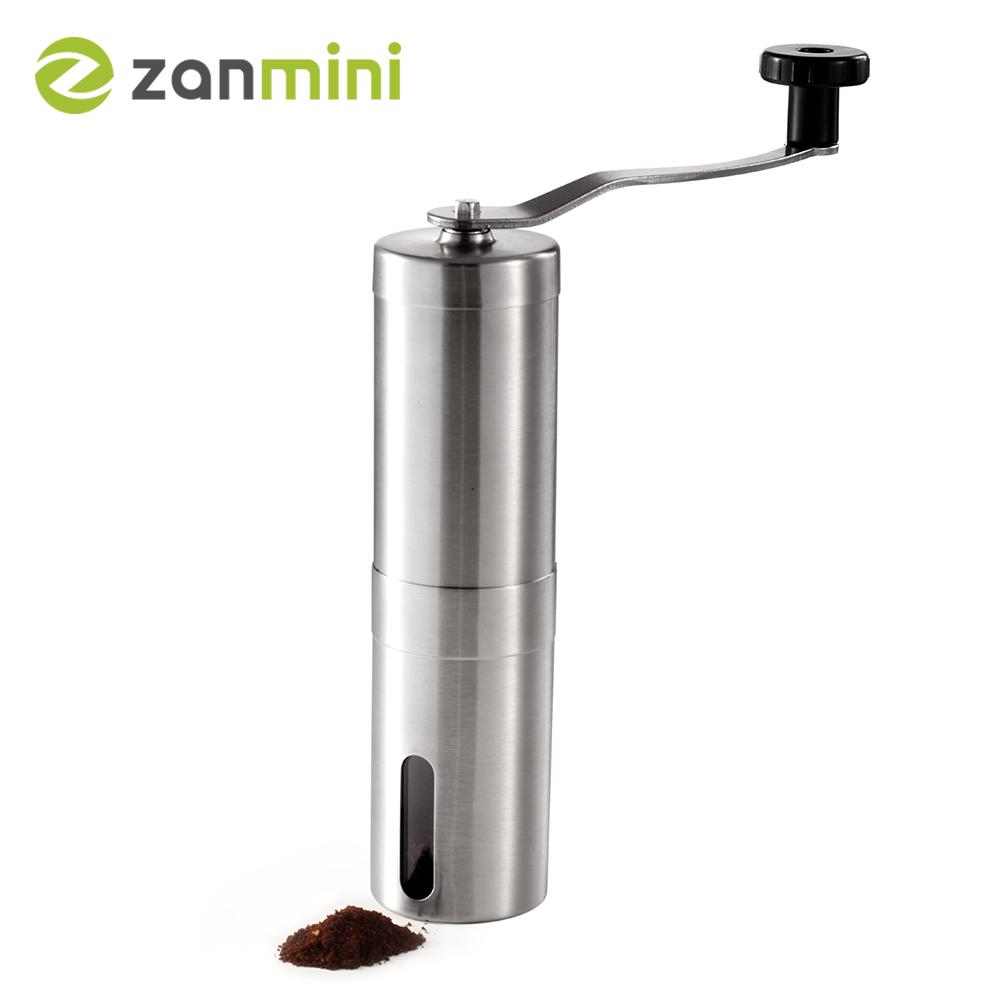 Zanmini Silver Coffee Grinder Mini Stainless Steel Hand Manual Handmade Coffee Bean Burr Grinder Mill Kitchen Tool Crocus Grinde-modlily
