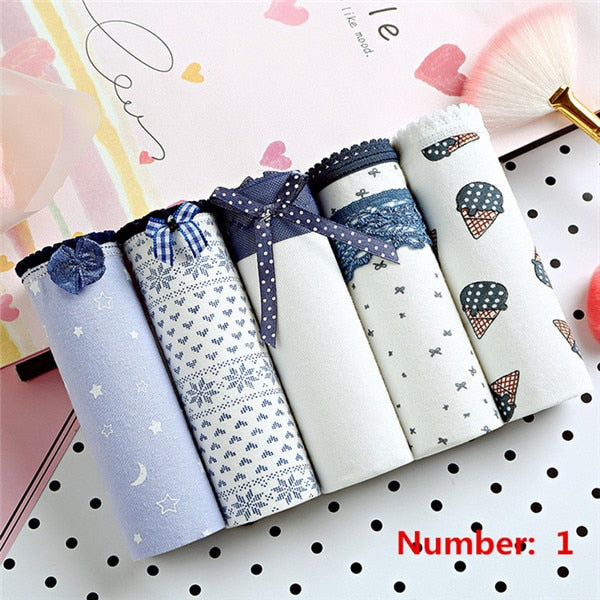 5PCS/lot Women Panties Sexy Cotton Underwear Cute Printed Intimate Plus Size Briefs Breathable pink Underpants lingerie-modlily
