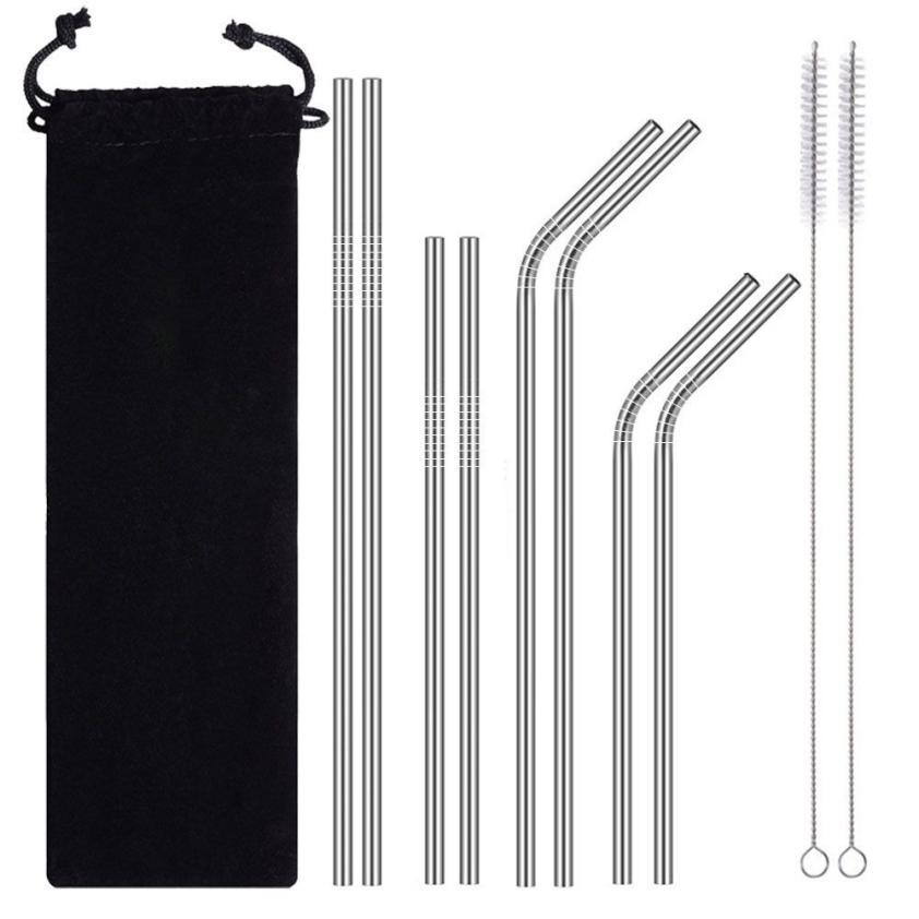 Long Stainless Steel Metal Drinking Straws With Cleaning Brushes Set Recycle Stainless Steel Drinking Straw Dropshipping 18jul24-modlily