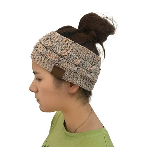 9a04e9d2d56 women s CC hat knitted winter warm beanies high stretch twisted cable knit  Bun Ponytail Hats cap