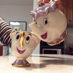 Cartoon Beauty And The Beast Teapot Mug Mrs Potts Chip Tea Pot Cup Set Porcelain Gift 18K Gold-plated Painted Enamel Ceramic New-modlily