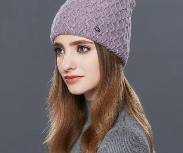 ENJOYFUR Cashmere Knitted Women's Hats Diamond Lattice Winter Hat Female Thick Cashmere Gravity Falls Cap Youth Wool Beanies-modlily
