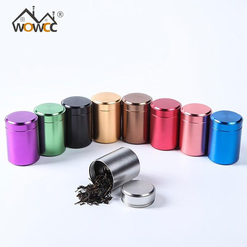 WOWCC Tea Caddy Mini Aluminum Storage Boxes Sealed Coffee Powder Cans Tea Leaves Container Portable Travel Tea Caddy Organizer