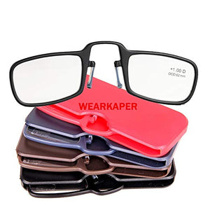 WEARKAPER New Mini Thin Frame Folding Reading Glasses Nose Resting Glasses Men Oculos De Grau With Original Box 1.-3.0-modlily
