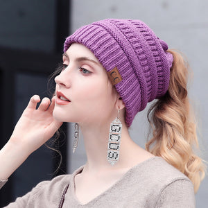 Drop Shipping CC Messy Bun Ponytail Beanie Hat Women Crochet Knit Cap Winter Skullies Beanies Knitted Stylish Hats For Ladies-modlily