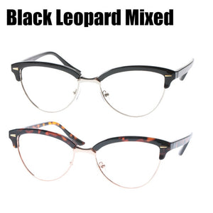 SOOLALA Semi-rimless Cat Eye Reading Glasses Women Men Magnifying Eyeglasses Presbyopia Reading glasses +0.5 1.5 2.5 to 4.0-modlily
