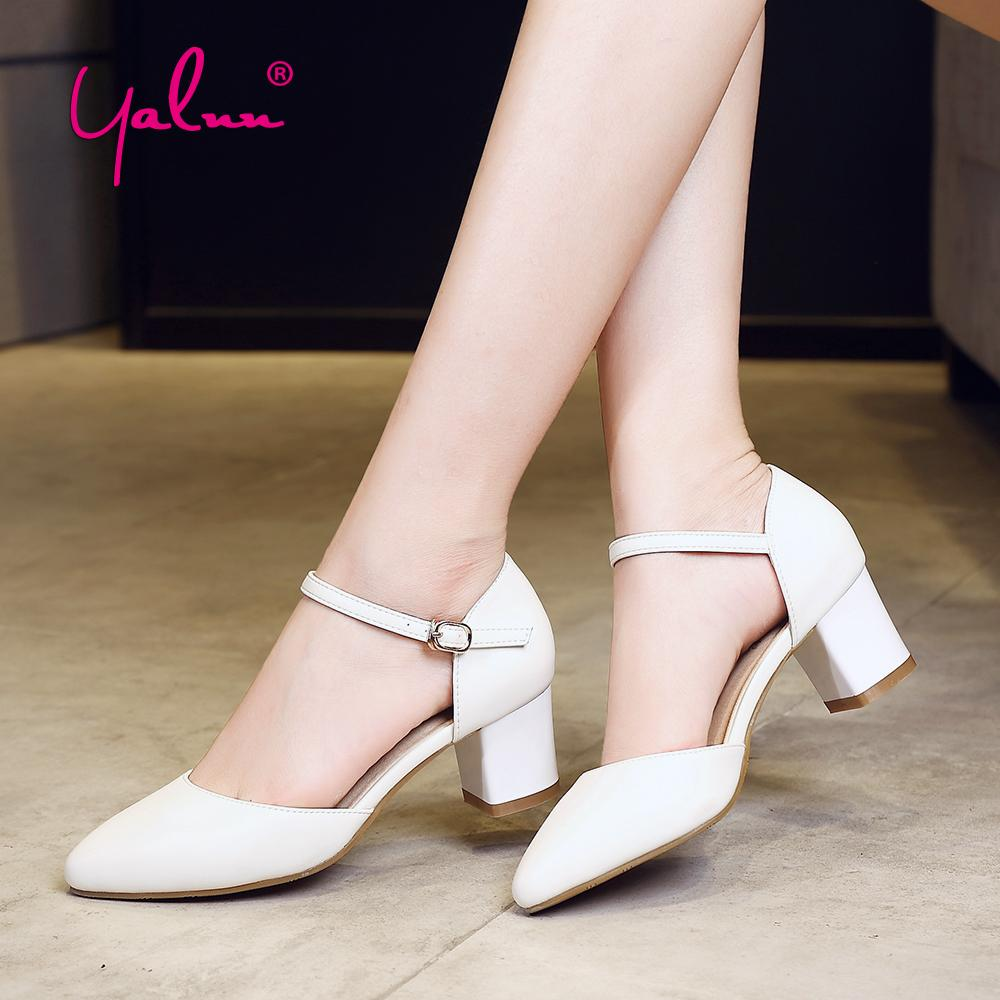 3 to 7cm High Heels Women Shoes Black Elegant Shoes Woman White Heels Women Pumps for Office School Square Heel Sandals Hollow-modlily