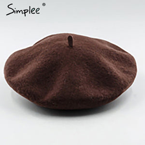 Simplee Winter elegant wool beret Women casual streetwear warm beret hat cap Autumn party club female beret beanie 2017-modlily
