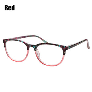 SOOLALA Floral Printed Reading Glasses Men Women Spring Hinge Wide Lens Reading Glass w/ Pouch +1.0 1.25 1.5 to 4.0-modlily