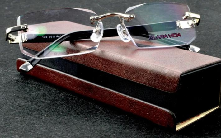 CLARAVIDA LUXURY PACK CHIEF EXECUTIVE OFFICER'S BUSINESS RIMLESS FRAMELESS READING GLASSES+PU BOX +1 +1.5 +2 +2.5 +3 +3.5 +4-modlily