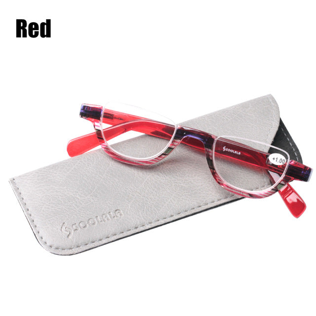 SOOLALA Flat Top Semi-Rimless Reading Glasses Women Men 2018 New Cheap Presbyopia Reading Glasses with Leather Case +1.0 to 4.0-modlily