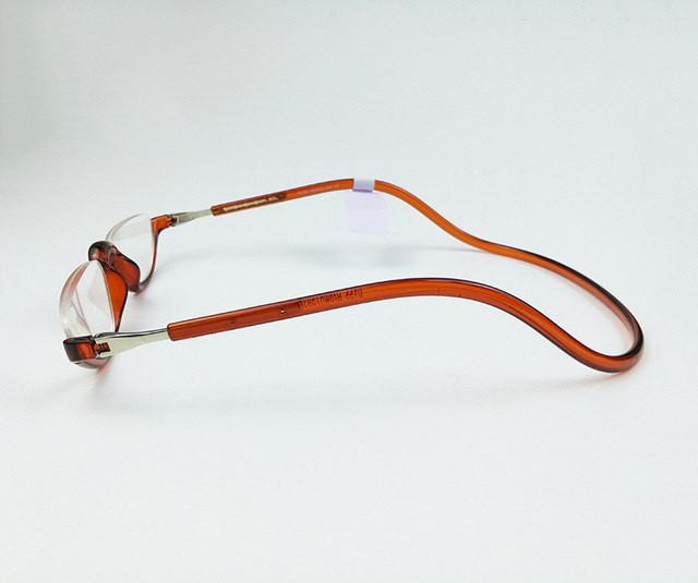 Unisex Half Rimless Magnetic Folding Readers Reading Glasses +1.0 1.5 2.0 2.5 3.0 Adjustable Neck Hang Eyeglass Plastic magnet-modlily