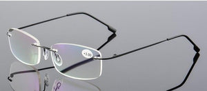 New Ultra light Flexible Memory Rimless Titanium Reading Glasses With Leather Pouch +1.00,+1.50,+2.00,+2.50,+3.00,+3.50+4.0 A1-modlily