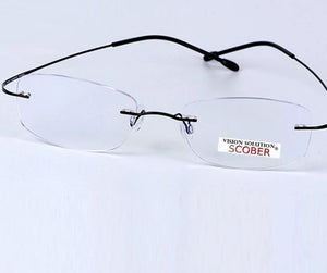 SCOBER = New B Titanium ONLY 2G Ultra-light Bomb Rimless READING GLASSES BLACK AND SILVER FRAME +0.75 +1 +1.25 +1.5 +1.75 to +4-modlily