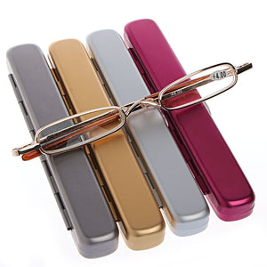 1PC Mini Portable Metal Full Frame Reading Glasses Eyeglasses +1.00 to +4.00 -Y107-modlily