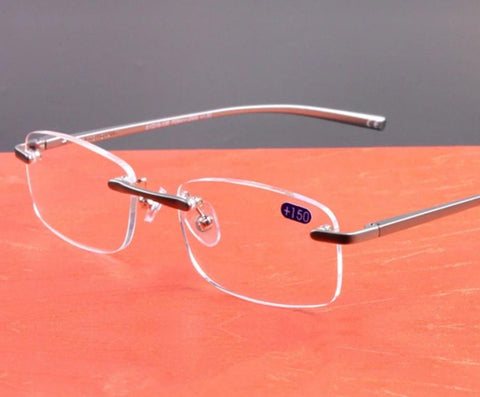 YOOSKE Aluminum Frameless Reading Glasses HD lens Presbyopia Spectacles Rimless Women Men Glasses Classic Unisex Eyeglasses