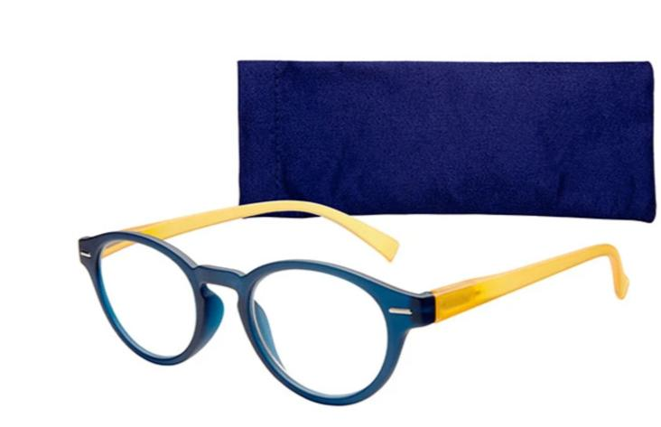 2018 cat eye Reading Glasses +1.0 to +3.0, Blue stylish and colorful classic youthful round women reading glasses with case-modlily