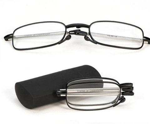 YOOSKE Full Metal Frame Folding Reading Glasses Men Women Portable Presbyopic Eyeglasses Small Fold Glasses 1.5 2.0 2.5 3.0 3.5