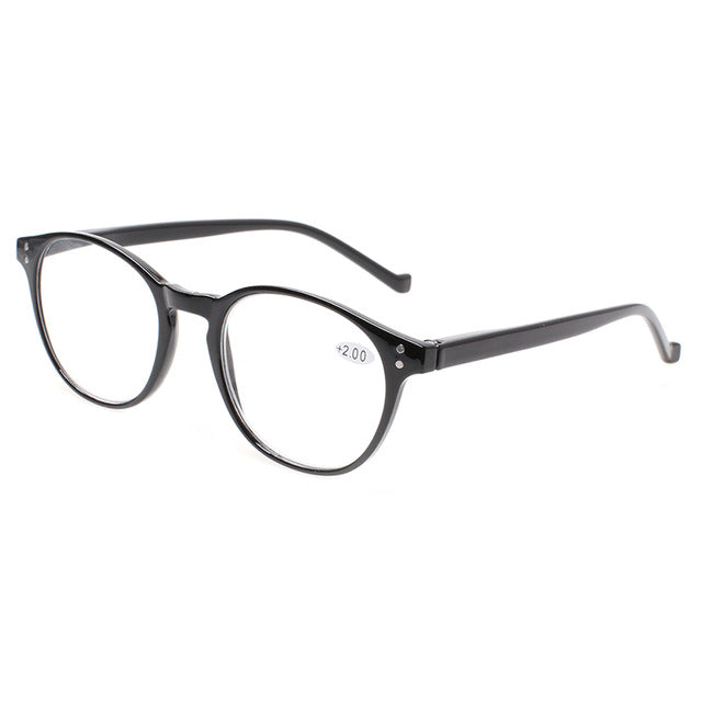 Henotin fashion round reading glasses spring hinges men's and women's readers glasses diopter 0.5 1.75 2.0 3.0 4.0 .......-modlily