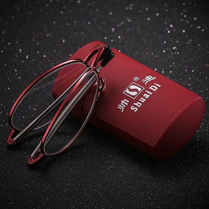 Men Women Folding Reading Glasses Stainless Steel Metal Optical Glasses Fashion Anti-fatigue Adjustable Women's Eyeglasses &Case-modlily