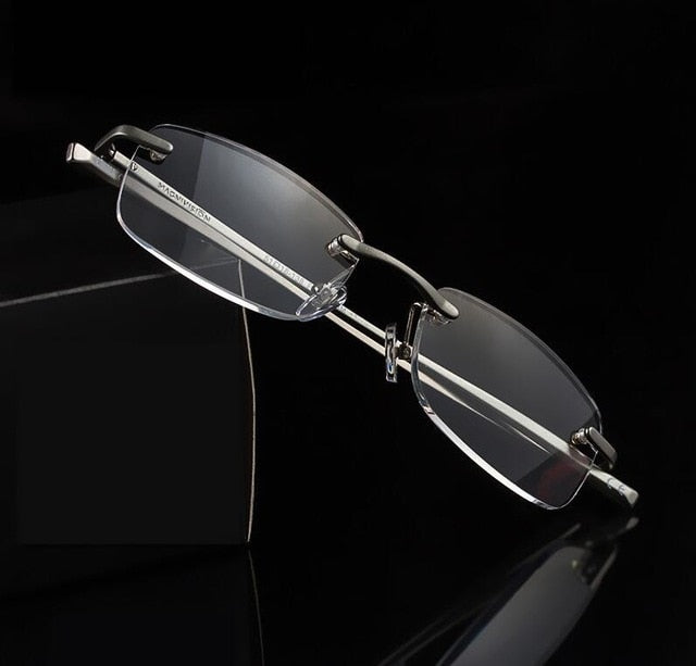 2017High-Quality Aluminum Rimless Reading Glasses Old Reading Glasses HD Resin Lens Presbyopia Glasses Gafas de lectura-modlily
