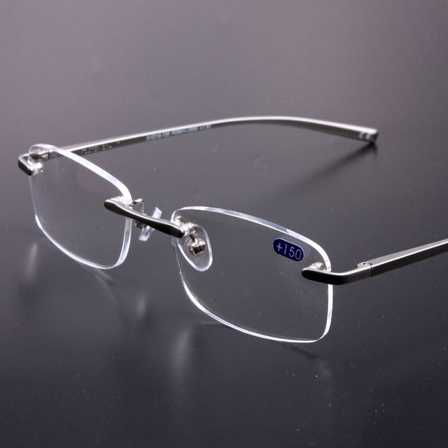 DIDI Rimless Reading Glasses Men Rectangle Aluminum Eye Glasses Frame For Women Optical Glasses With Diopters 1.0 To 3.5 H853-modlily